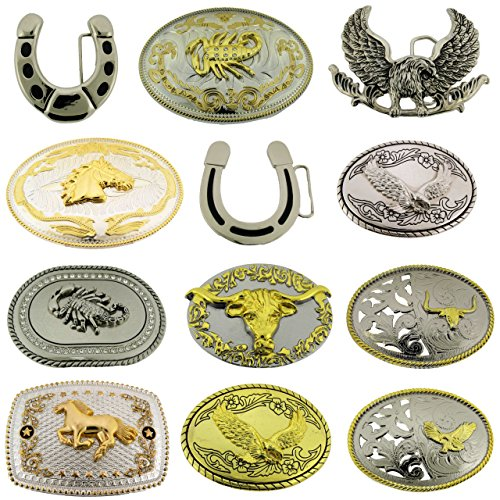 Eagle Bull Scorpion Horse Horseshoe Belt Buckles Wholesale Lot 12 Pieces Western from Generic/Buckleszone