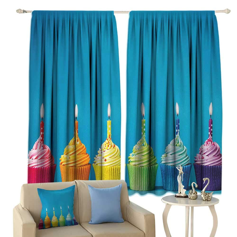 Birthday, Thermal Insulating Blackout Curtain, Cupcakes in Rainbow Colors with Candles Fun Homemade Party Food Sweet Delicious, Blackout Draperies for Bedroom,(W84 x L72 Inch, Multicolor