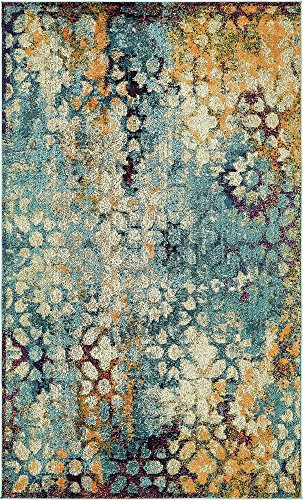 Unique Loom Arte Collection Blue 5 x 8 Area Rug (5' x 8') (Green Blue Brown Rug)