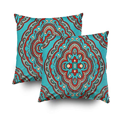 (Art Pillow Case,Abstract pattern with damask Seamless filigree ornament Turquoise template for wallpaper textile shawl carpetCapsceoll 18x18 Set of 2 Pillow Covers,Home Decoration Pillow Cases Zippere)