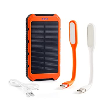 10000 mAh cargador solar externo Dual USB interfaz, a prueba de solar portátil para pilas iPhone 6,6 +, 5S, 5C, 5, 4S, 4, iPad Air, Mini Samsung ...