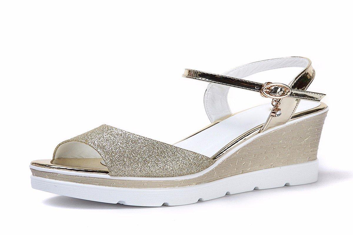 HBDLH Damenschuhe Sommer Flache Boden Hang mit Fisch Im Mund Schuhe mit Hohen Absätzen 8 cm Unten Studenten Dicke Schuhe.