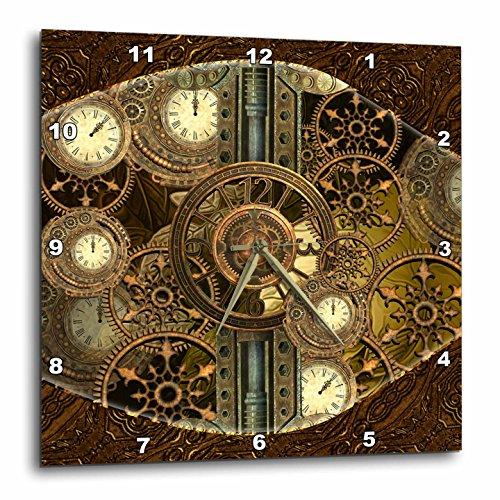 3dRose Heike Köhnen Design Steampunk – Steampunk, Golden Design Clocks and Gears – Wall Clocks
