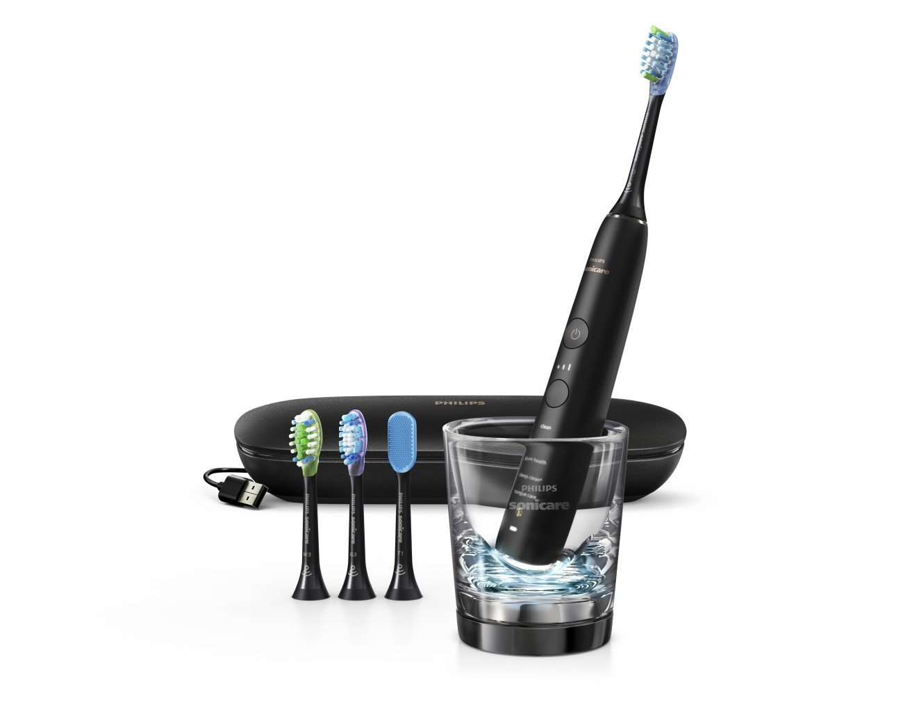Philips Sonicare DiamondClean Smart Electric, Rechargeable toothbrush for Complete Oral Care, with Charging Travel Case, 5 modes – 9500 Series, Black, HX9924/11