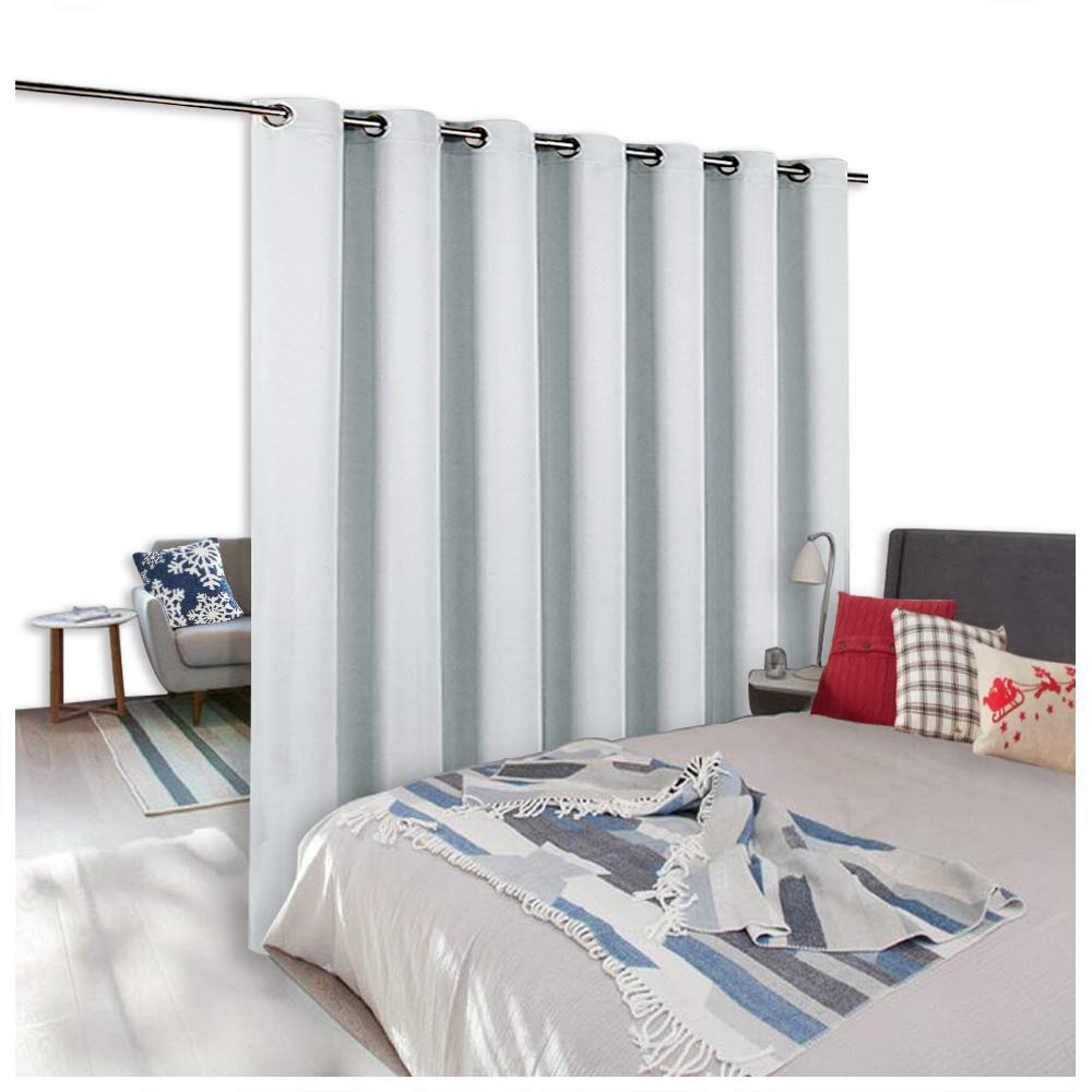 NICETOWN Room Dividers Curtains Screens Partitions, Room Darkening Grommet Curtains Room Divider for Bookcase, Heavy - Duty Blackout Privacy Curtains (1 Pc, 10ft Width x 8ft Length, Greyish White)
