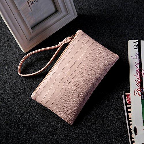 Cdet Münzbörsen Brieftasche PU Lagerung Paket Geldbörse Mobiltelefon Tasche Es tragen Mini Kosmetiktasche Aufbewahrungs Tasche size 19,5*11,5cm (Pink)