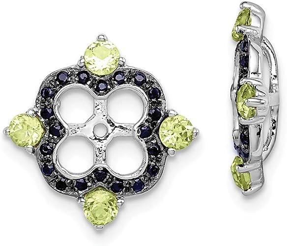 Sterling Silver Rhodium Peridot /& Black Sapphire Earring Jacket