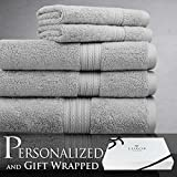 ­­­­­­­­­­­­­­­­ Luxor Linens ­ 6-­Piece Bath Towel Set ­- Spring Bliss Collection - Super Soft & Luxurious 100% Egyptian Cotton -­ Available in Various Colors & Embroidery Styles