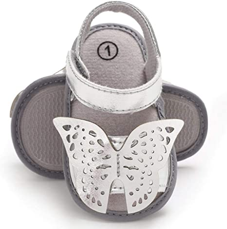 Girls real Leather Butterfly sandals white shoes baby toddler kid child footwear