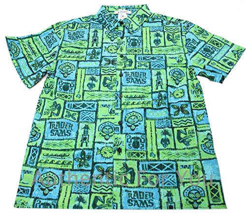 Mickey Mouse Hawaiian Shirt - Disney Parks Trader Sam's Hawaiian Men's Camp Shirt, Black, Large
