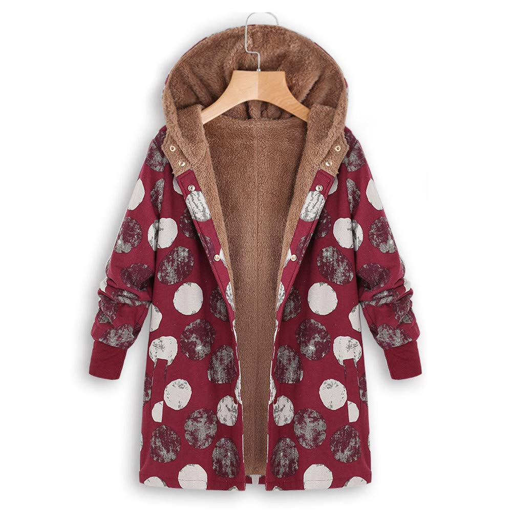 Womens Winter Warm Outwear Floral Print Hooded Pockets Vintage Oversize Coats