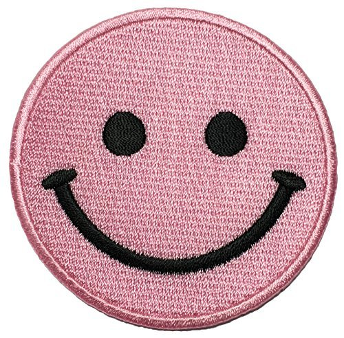 Papapatch Smiley Happy Face Smile Fun Logo Hippie Retro Jacket T-shirt Costume DIY Applique Embroidered Sew Iron on Patch - Pink (IRON-SMILEY-PK)