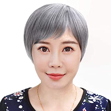 Amazon.com   NIBOKA Old Women Mother Mom Short Black And Grey Wigs Hair  Madam Costume Wigs   Beauty 41bbea3c6a