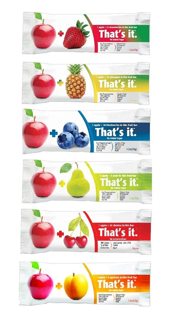 That's it Super Sampler, Pack of 6, (1 Apple+Blueberry, 1 Apple+Strawberry, 1 Apple+Pineapple, 1 Apple+Pear, 1 Apple+Cherry, 1 Apple Apricot)