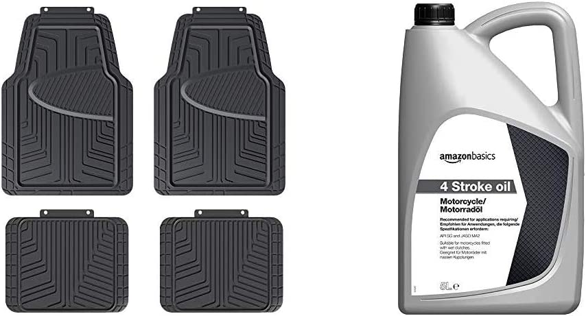 AmazonBasics 4-Piece All-Season Rubber Floor Mat for Cars, SUVs and Trucks, Black & Motorcycle Oil 4T, 5L