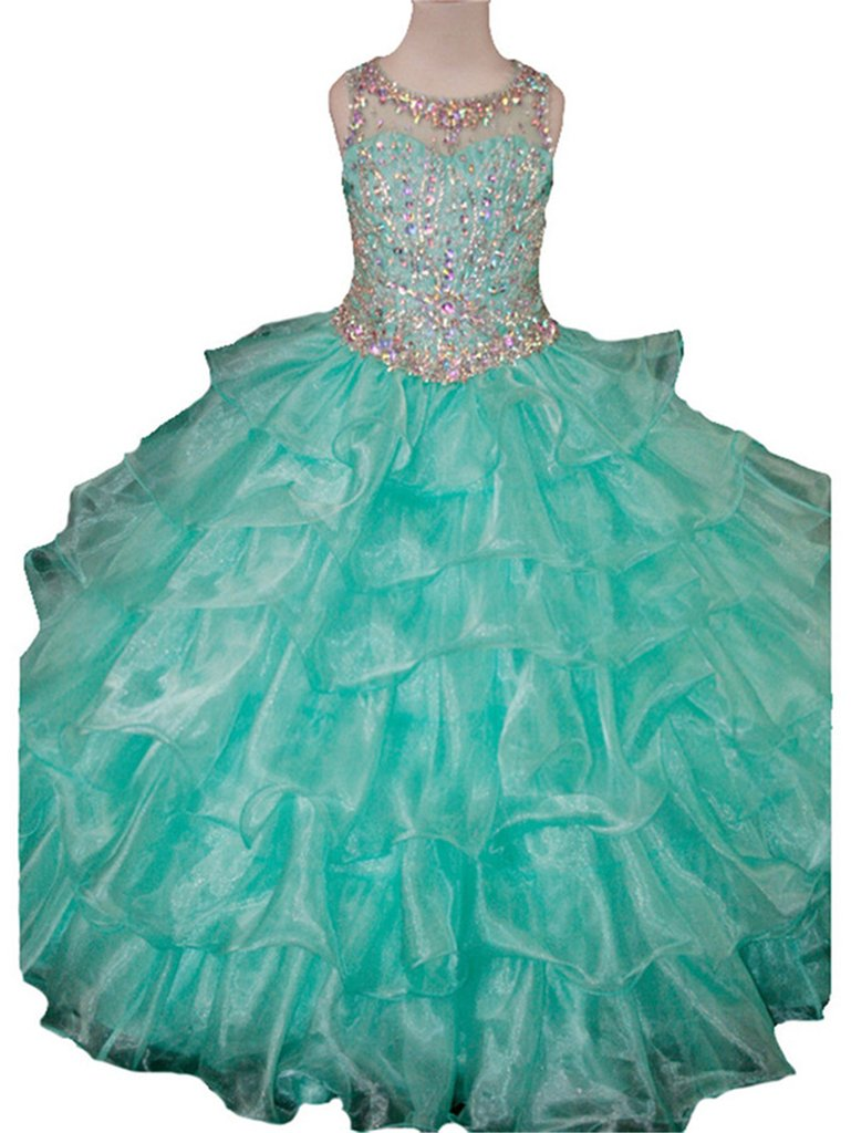 Yang Girls Ruffled Jewel Ball Gowns Gifts Pageant Dresses 14 US Mint