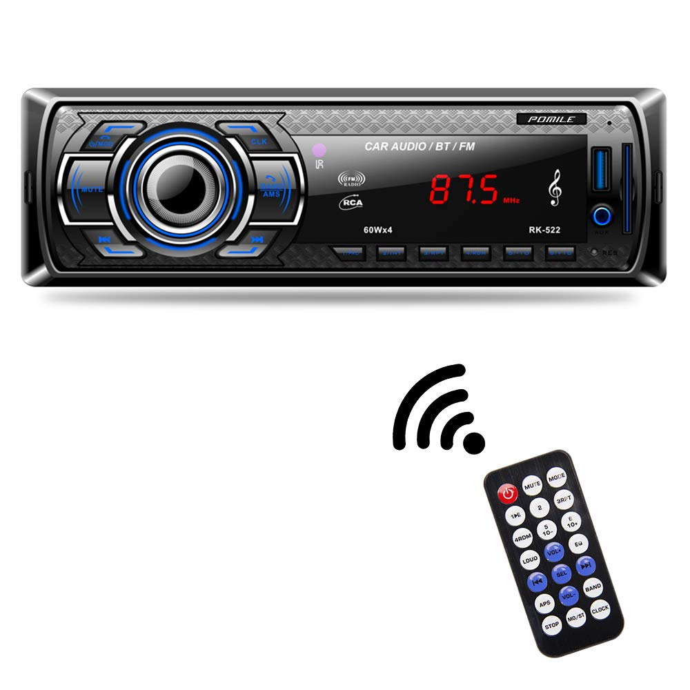 Car Stereo Audio Receiver Bluetooth, POMILE Car Radio MP3 Player Single Din in-Dash USB/SD/FM/AUX/MMC with Remote Control 12V, (No CD/DVD)