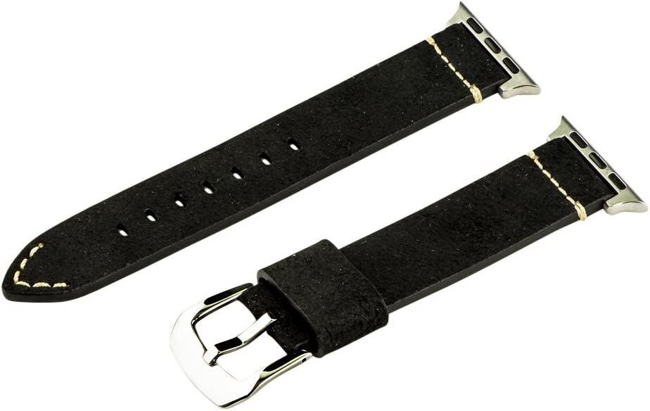 Clockwork Synergy - Dapper Collection Leather Watch Bands for Apple (38mm Suede Black Bands/Steel Buckle)