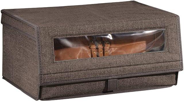 mDesign Caja para Zapatos de Tela – Cajas apilables Grandes con Ventana para visualizar el Contenido, Cierre de Velcro y Tapa abatible – Cajas organizadoras para armarios o estantes – marrón café: