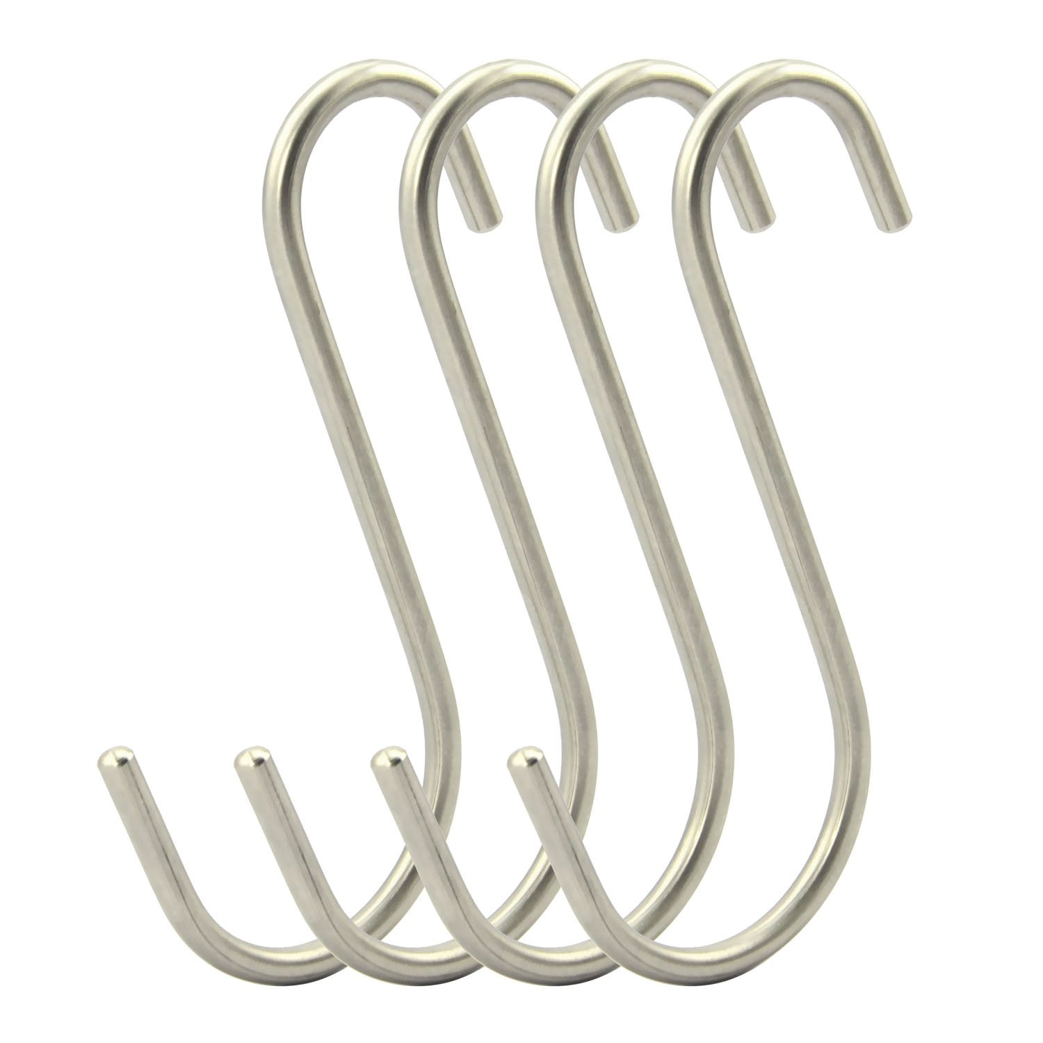 RuiLing 4-Pack Extra large Size 5.2 Inch Premium Heavy-Duty Genuine Solid Polished Stainless Steel S Shaped Hooks Heavy tool Hanging Hooks for Bathroom,office, wardrobe,Storage room,Workshop.