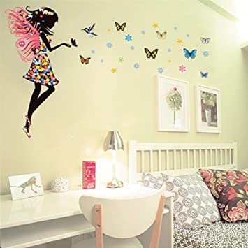 Amazon.com: Fairy Butterfly Wall Decal Sticker for Girl Room Decor ...