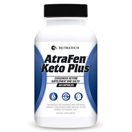 Nutratech Atrafen Keto BHB Salts Ketogenic Diet Pills. Exogenous Ketone Weight Loss Supplement Formulated for Deep Ketosis, and Additional Energy, Fat Burning, and Focus on Ketogenic Diet. 60 Count.
