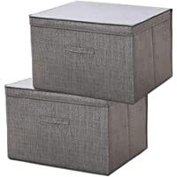 2 PCS Large Size Cloth Foldable Storage Cubes Bin Box Containers with Lid and Handles for Home, Office, Nursery, Closet…