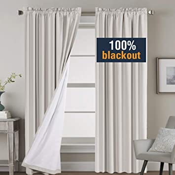 2 Panels, 52 Inch Wide by 63 Inch Long 2 Bonus Tie-Backs Thermal Insulated Rod Pocket Blackout Panels//Drapes for Bedroom Window Taupe H.VERSAILTEX Full Blackout Curtains for Living Room