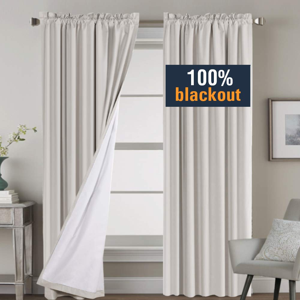 H.VERSAILTEX Window Treatment Rod Pocket 100% Blackout Curtains for Living Room 84 Inches Length, Waterproof Thermal Insulated Natural Curtains with White Backing, 2 Panels, 2 Bonus Tie-Backs by H.VERSAILTEX