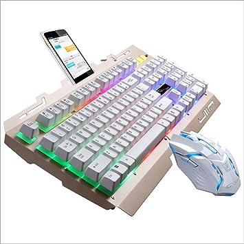 Colorful Rainbow Fondo Multimedia Ergonómico USB Gaming Teclado + Ratón + Teclado Ratón Set LED Retroiluminada