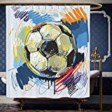 Wanranhome Custom-made shower curtain Sports Decor Set Spherical Soccer Ball Illustration With Colorful Distressed Details Like In Motion Art Graphic Multi For Bathroom Decoration 69 x 75 inches