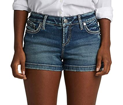 3cf40fbc Silver Jeans Co. Women's Elyse Relaxed Fit Mid Rise Short, Stretch Medium,  28W