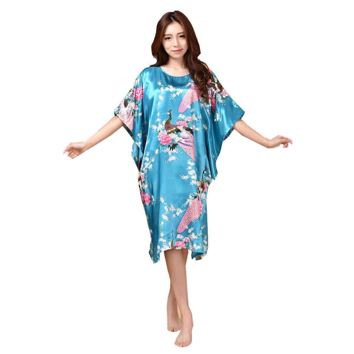 GAOLIGUO GL&G Animal pattern lady silk bathrobe thin section pajamas printing single skirt loose large yards home service comfortable Light blue bathrobes,Light blue,One size