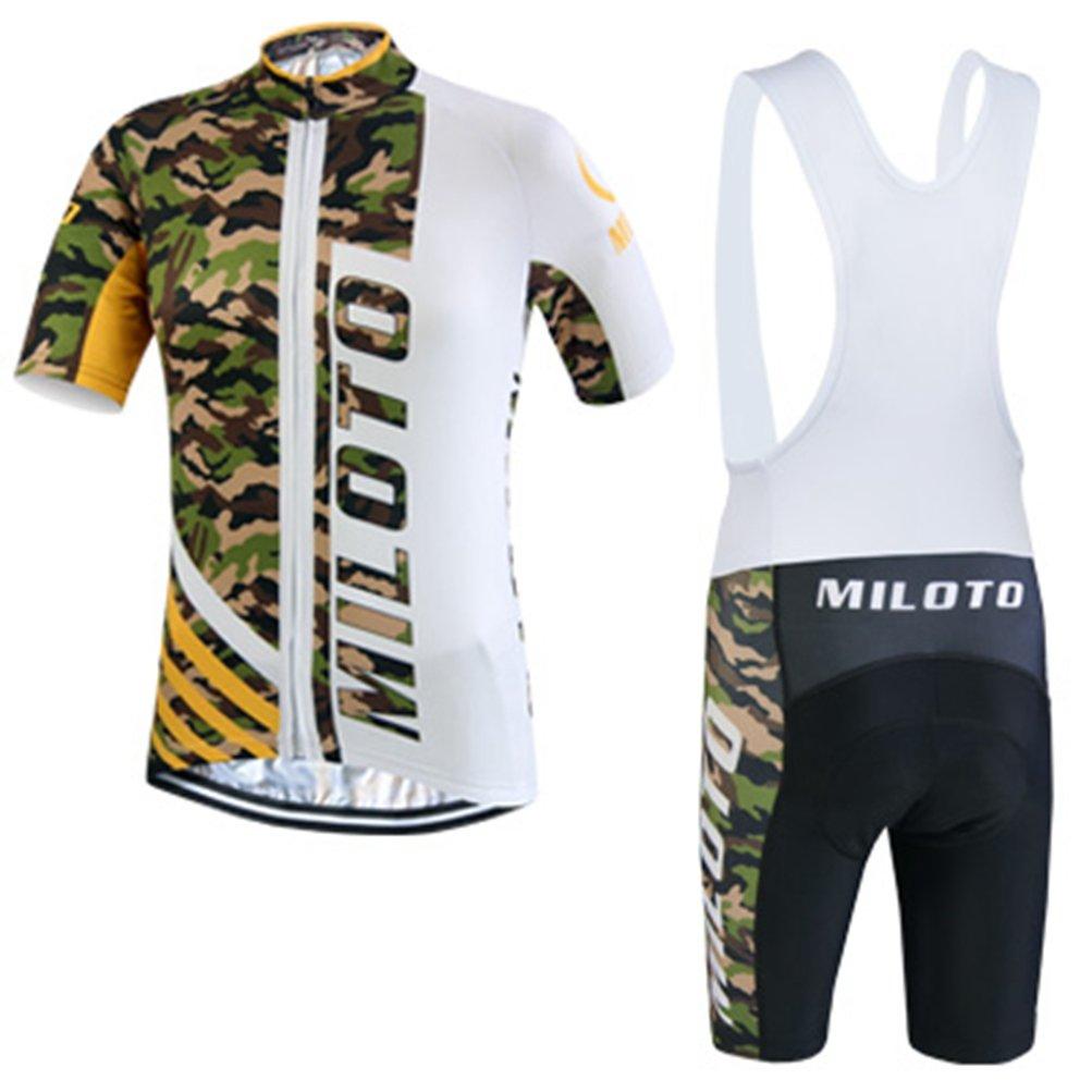 Uriah Men 's Cycling Jersey Bib Shortsホワイトセット半袖Reflective B06Y579Z81 Large 迷彩 迷彩 Large