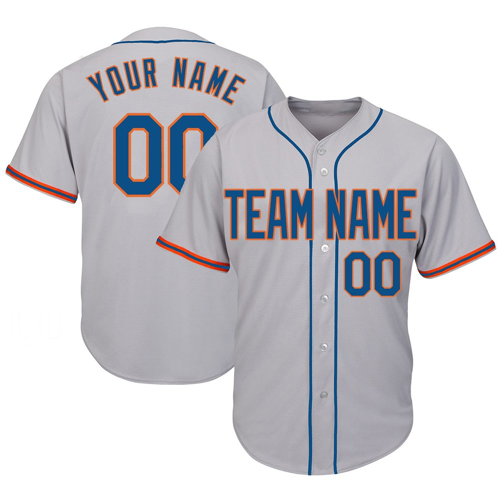 DEHUI Customized Men's Gray Baseball Jerseys Button Down with Embroidered Team Name Player Name and Numbers,Royal-Orange Size S by DEHUI