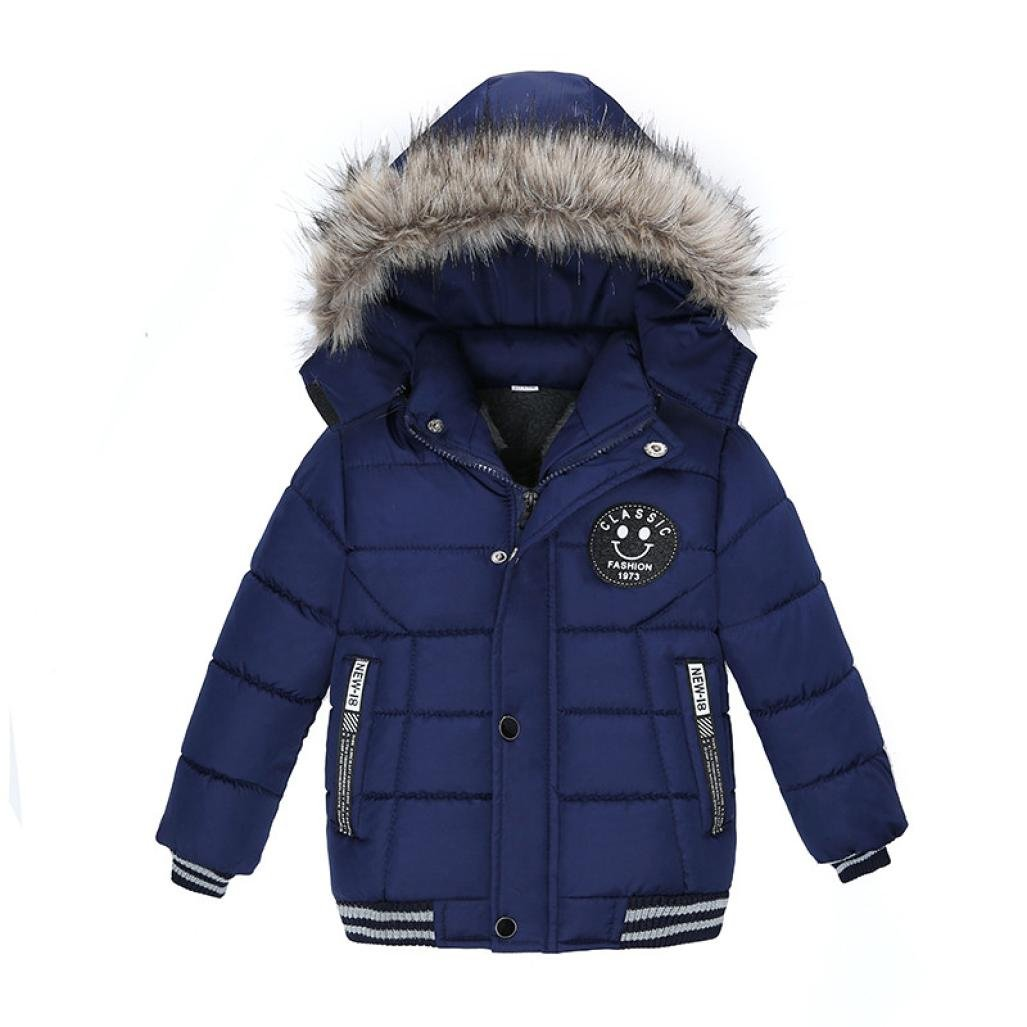 Vicbovo Clearance Sale Toddler Baby Boy Kids Fashion Hooded Fur Thick Jacket Coat Winter Warm Clothes Outwear (5T, Navy)
