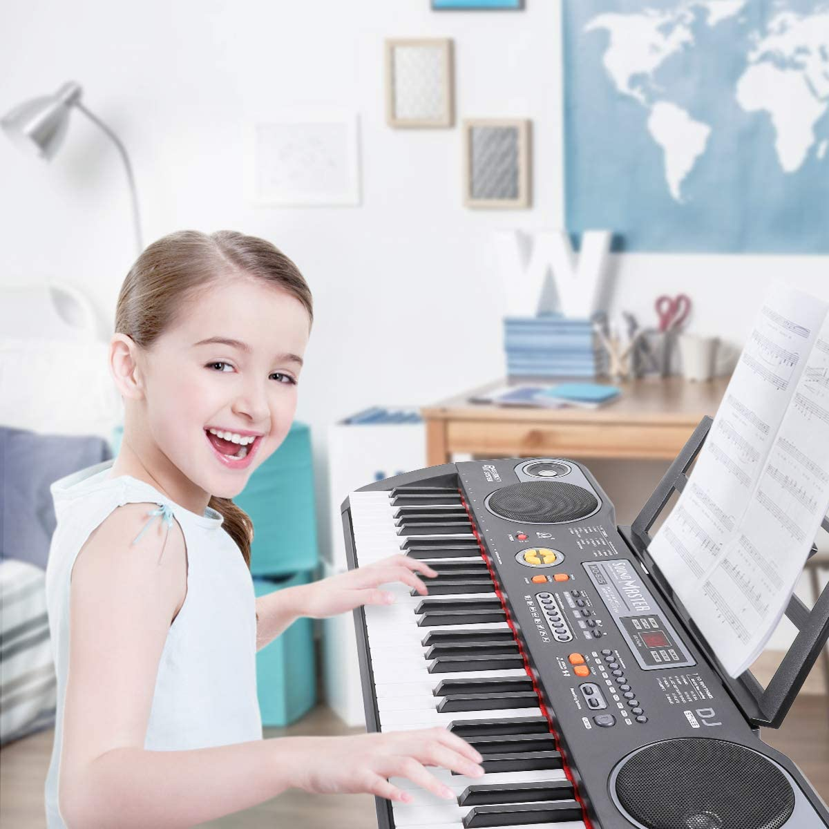 Beginners Learning Keyboard USB Supply or Battery Powered Electronic Keyboard Digital Piano with Music Stand Magicfun 61 Key Keyboard Piano Built-in Speaker and Teaching Record Mode