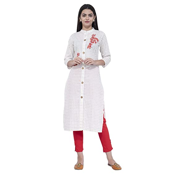 f44aa9eeb9 DESI NOOR Ladies Kurti Trouser set With Golden print and Red flower Embd on  100%