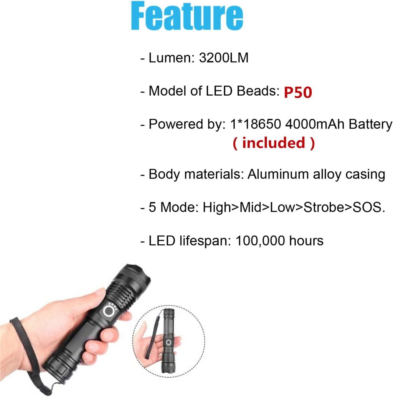 Jaxtec DEL Torche 5 Modes P50 lampe de poche avec chargeur USB Super Bright 3200 lm