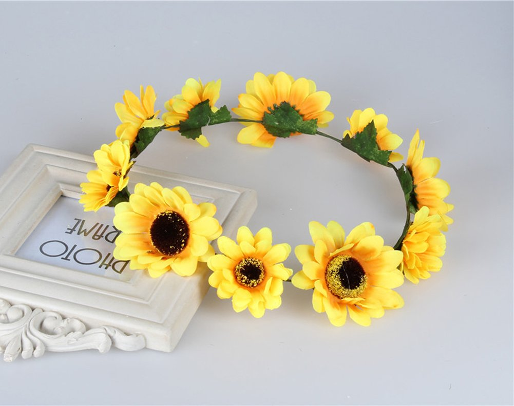 Amazon Merroyal Sunflower Boho Hippie Festival Flower Crown