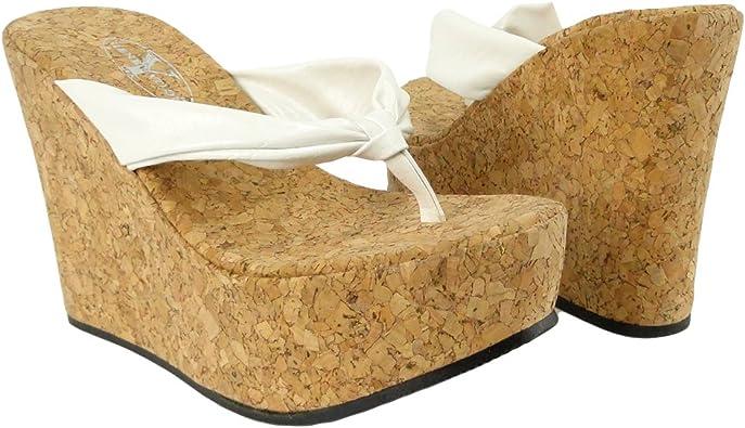 Platform Cork Wedge Thong Sandals White