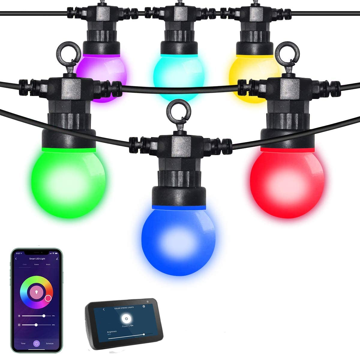 Outdoor RGB String Lights, AIRIVO 33 Ft 12 Bulbs Patio Smart LED String Lights Work with App & Alexa ,Color Changing Waterproof Dimmable Indoor Café Globe Light for Garden, Backyard ,Holidays, Party