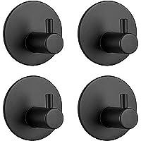 Self Adhesive Hooks, 304 Stainless Steel Towel Hooks 3M Adhesive Hooks Rustproof Waterproof for Kitchen Bathroom Office - Black 4 Packs