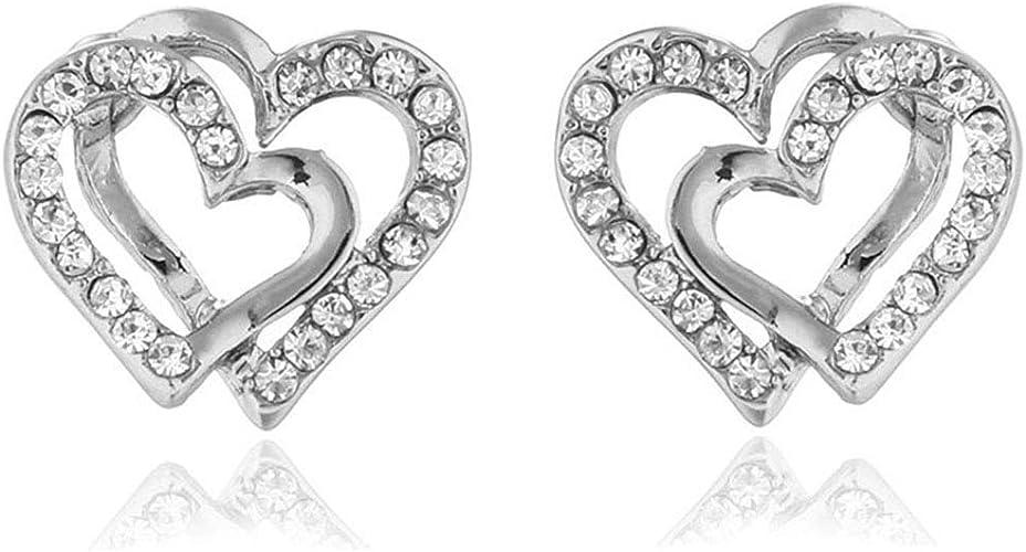 New Fashion Love Heart Crystal Drop Dangle Stud Earring for Women Party Wedding