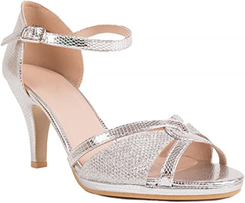 Chaussures Mariage Femme argentées Forme Sandales pailletées à Petit Talon & Bout Ouvert