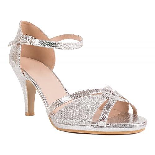 Chaussures de mariage femme argenté à strass effet pailleté à petit talon 6cm-36 jQ234H7kZg