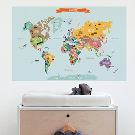 Amazoncom Countries Of The World Map Poster Wall Sticker Small - Small world map poster