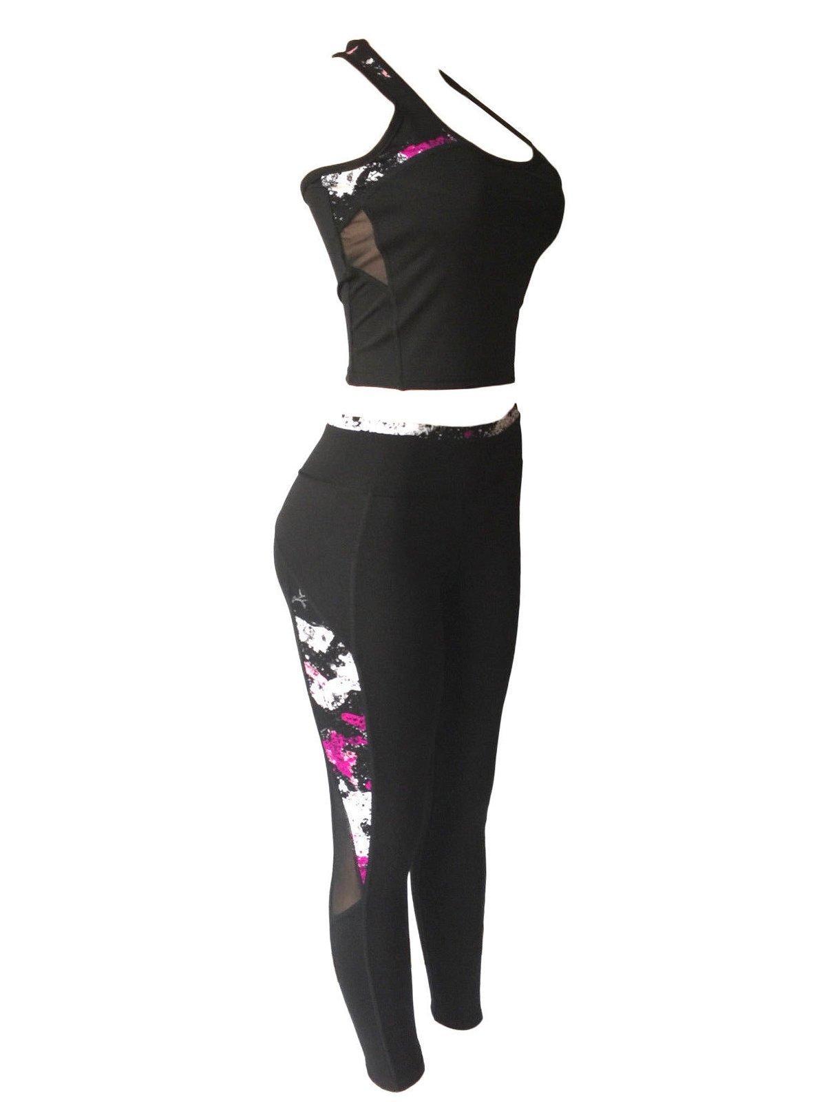 Women Sports Gym Yoga Workout Activewear Sets 2 Pieces Top+Leggings Set (S/M, Plum Touch/Black)