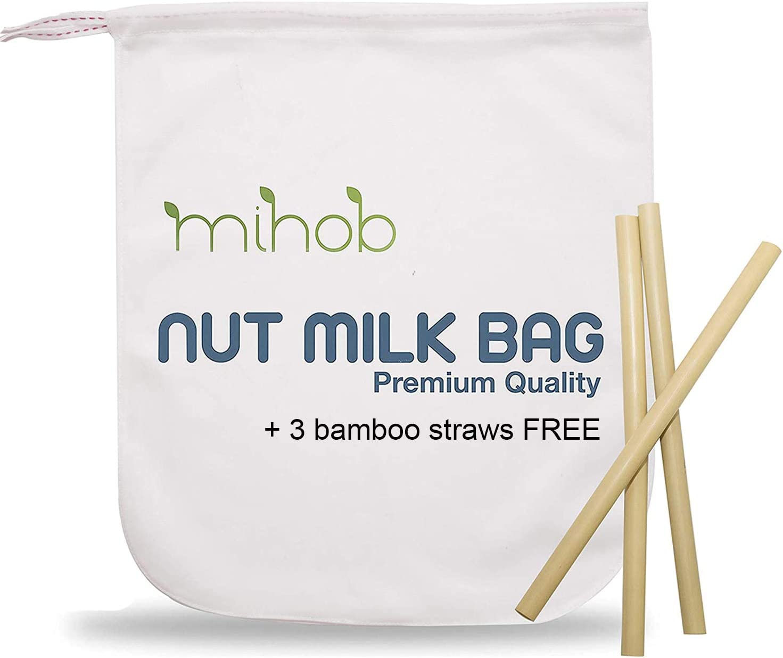 Premium Cotton Nut Milk Bag and Organic Bamboo Straws - All Purpose Reusable Strainer for Almond Milk, Soy Milk, Brew Coffee & Tea, Cheese Making, Oat Milk, Juicing, Yogurt & More.