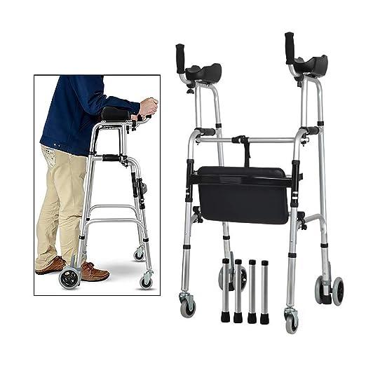 Walker Andador Plegable de Aluminio, Andador con Ruedas con ...